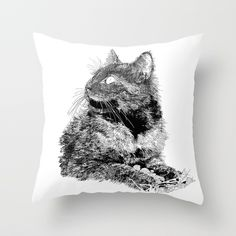 Fluffy, drawing Throw Pillow by Dparker | Society6