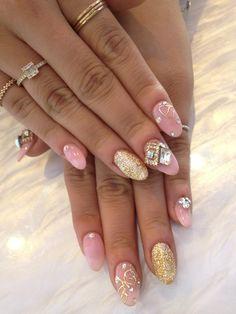 esNAIL_LA : pink beige and gold glitter nail ★