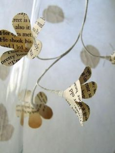 Delicate Flower Garland made from book pages.