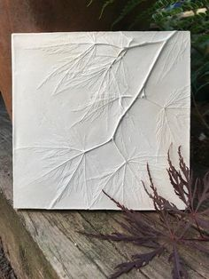 Acer Leaf Decorative Tile - Japanese Maple botanical tile, home decor, nature and garden lovers, perfect for home decor or as a gift - samira Art Texture, Texture Painting, Pruning Japanese Maples, Cuadros Diy, Plaster Art, Decorative Tile, Diy Wall Art, Art Projects, Canvas Art