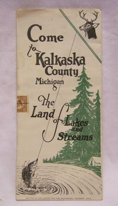 1920's Kalkaska County Michigan Land of Lakes and Streams Travel Brochure | Collectibles, Souvenirs & Travel Memorabilia, United States | eBay!