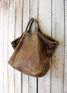 ffc32563ab SHIP BAG 11 Handmade Italian Vintage light gray Leather Tote