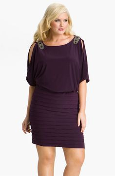 Plus sized fashion Xscape Embellished Matte Jersey Blouson Dress