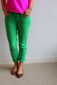 Pink top, green pants, leopard flats}}} p done well