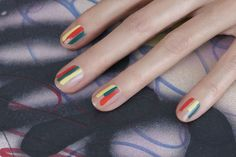 Nail Art For Lazy Girls | Beauty HighThere's pretty much no way to mess up this abstract stripe look. You don't even need a special brush. Just take three colors of your choosing and do a quick and light swipe down each nail at different lengths for this colorful matisse-inspired look