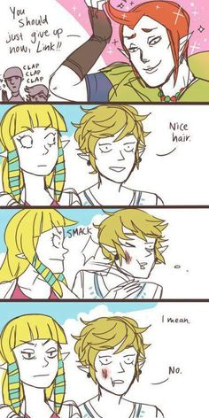 "Zelda, Skyward Sword comic pfffffffft this is why Link doesn't speak XD! LOL! ""I mean... no.."""