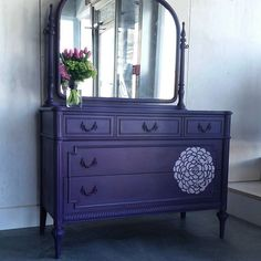 """""""Our favorite purple is a 1:1 mix of Aubusson Blue and Burgundy"""" says Annie Sloan Stockist Malenka Originals. Isn't this vanity dresser amazing in that color?"""