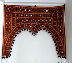Handmade Mirror and embroidered window door Valance/ Toran/door hanging decoration/Indian Toran by KalasCreation on Etsy https://www.etsy.com/listing/265716623/handmade-mirror-and-embroidered-window
