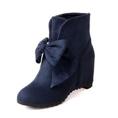 WeenFashion Womens Round Closed Toe High Heels Imitated Suede Short Plush Solid Boots with Bows ** See this great product.