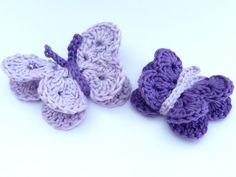 Crochet applique 2 crochet butterfliesl 1 by MyfanwysAppliques, £3.75