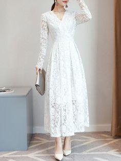 Lace Hollow Out Solid Color A-Line Dresses White Dress Winter, Simple White Dress, Simple Gowns, Winter Dresses, Modest Dresses Casual, Edgy Dress, Nice Dresses, Lace Dress, Formal Dresses