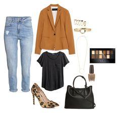 Brown Blazer by irenemastronardo on Polyvore featuring moda, H&M, Zara, River Island, Prada, Maybelline and OPI