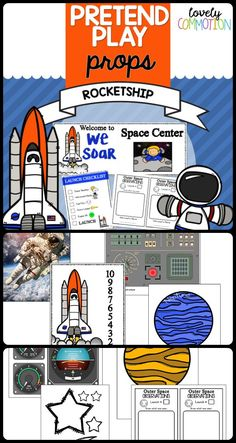 Blast off into outer space without leaving your preschool drama center! With this pack, aid in the pretending of launching a spaceship into space! The pack comes with printables and ideas to make your space shuttle dramatic play a step above the rest! Dramatic Play Themes, Dramatic Play Area, Dramatic Play Centers, Space Theme Preschool, Space Activities For Kids, Preschool Centers, Learning Activities, Airplane Activities, Drama Activities
