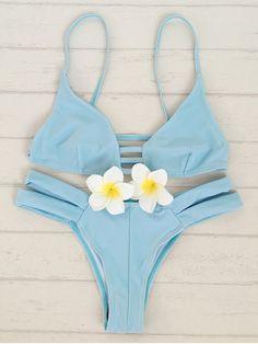 Solid Color Cami Bandage Bikini Set - LIGHT BLUE M Mobile