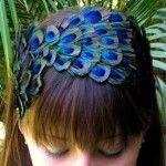 serre-tête plume de paon / bleu / accessoire de cheveux