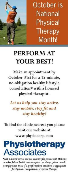 October was National Physical Therapy Month! Physiotherapy Associates celebrated by offering FREE 15-Minute Healthy Lifestyle Consultations at more than 650 clinics!