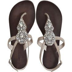 ANTIK BATIK Maya Rhinestone Sandal (€150) ❤ liked on Polyvore featuring shoes, sandals, flats, flat sandals, rhinestone flat shoes, antik batik sandals, flat pump shoes, antik batik and flat heel sandals