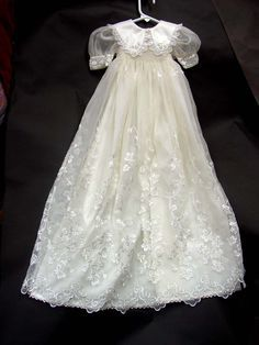 Christening gown made from daughter's wedding dress--talk about a treasured heirloom! Description from I searched for this on More