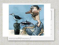 Eine at the beach Postkarte von Jenapaul von jenapaul auf Etsy