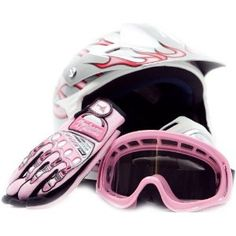 Amazon.com: Youth Motocross ATV Dirt Bike MX Helmet, Gloves and Goggles Pink Flame, Large: Automotive
