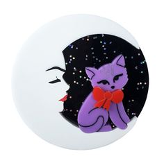 Peppy Chapette Marvellous Mavis Moon brooch in multi. Made in Melbourne by Louisa Camille Mavis, Resin Jewelry, Whimsical, Kittens, Moon, How To Make, Handmade, Image, Brooches