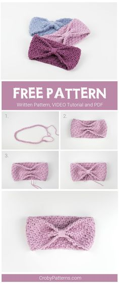 Simple and easy to make crochet headband for babies. Free pattern and video tuto. - Crochet and Knitting Patterns Simple and easy to make crochet headband for babies. Free pattern and video tuto. - Crochet and Knitting Patterns Crochet Simple, Crochet For Kids, Love Crochet, Crochet Lace, Basic Crochet Stitches, Crochet Basics, Thread Crochet, Crochet Granny, Crochet Crafts