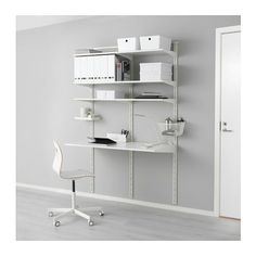 IKEA - ALGOT, Wall upright/shelves, The mounting rail helps you hang ALGOT wall uprights evenly and the right distance from each other.Wall uprights are the base for a ALGOT wall-mounted storage solut Shelves, Apartment Storage, Ikea Algot Closet, Ikea Algot, Ikea Home, Closet Organizing Systems, Track Shelving, Ikea, Shelving