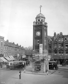 The Clock Tower in Crouch End, north London. On display on the tower is a banner with a barometer recording the progress of donations made to the Crouch End branch of the British Legion in aid of. Get premium, high resolution news photos at Getty Images Vintage London, Old London, Tower Ceramics, Crouch End, Fine Art Prints, Canvas Prints, London History, Architectural Features, North London