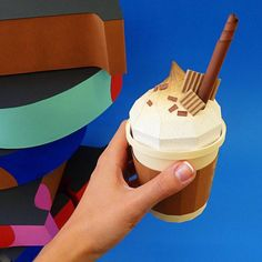 Paper Craft Cappucino by Victoria Bee Origami And Quilling, Origami Paper, Food Sculpture, Paper Engineering, Paper Magic, 3d Paper Crafts, Paper Artwork, Paper Book, Paper Models