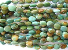 Natural Turquoise Bead Flat Oval 8MM X 10MM by jewelrycatsupplies, $30.95