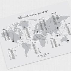 Come fly with me wedding seating chart – printable file – airplane world map wedding table plan Reisen Hochzeitsmotto Table Seating Chart, Wedding Reception Seating, Wedding Guest List, Seating Chart Wedding, Table Wedding, Wedding Music, Map Wedding, Wedding Sand, Travel Themes