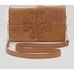 Tory Burch Natalie Suede & Leather Crossbody Bag, Brown ($395) found on Polyvore