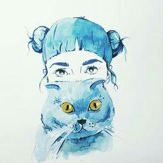 Watercolor, cat, girl, illustration,aquarell,