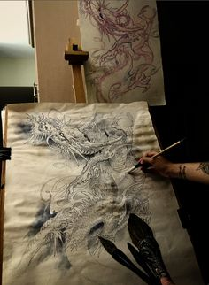 Chronic Ink Tattoo - Toronto Tattoo  Dragon painting by Tony, currently in progress.