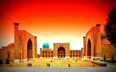 "The Registan, the heart of the ancient city of Samarkand of the Timurid dynasty, now in Uzbekistan. The name Rēgistan (ریگستان) means ""Sandy place"" or ""desert"" in Persian."