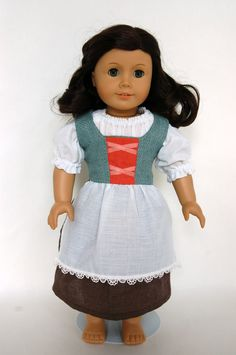 Turquoise Hobbit Medieval Peasant American Girl 18 inch Doll Outfit. $50.00, via Etsy.