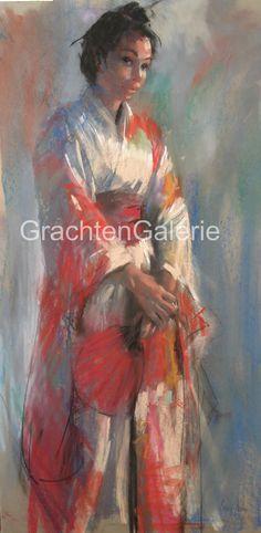 Model met waaier   Corry Kooy   Schilderij   Art