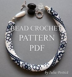 "Pattern for bead crochet necklace ""Winter Lace"" / Blue, crystal snow, bead crochet pattern / Beaded Necklace / Pattern only"