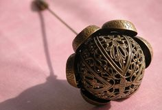 Victorian Hat Pin Metal Filigree with Tip Protector