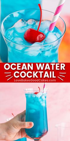 Ocean Water Cocktail – Coconut water, pineapple juice, blue curacao, and coconut rum combine for the perfect adults-only summer drink. Classic Cocktails, Summer Cocktails, Cocktail Drinks, Cocktail Recipes, Drink Recipes, Mix Drinks, Punch Recipes, Top Recipes, Apple Recipes