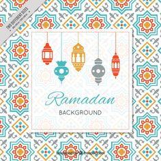 Ramadan background with arabic lamps Free Vector Ramadan Karim, Mubarak Ramadan, Ramadan Background, Ramadan Greetings, Ramadan Crafts, Meeting Planner, Unicorn Pattern, Iftar, Scrapbook Paper
