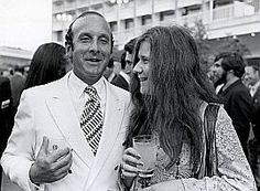 Janis Joplin with Columbia Records then president Clive Davis at a 1968 party celebrating Joplin's record deal.
