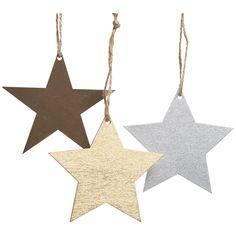 Wilko Let It Glow Wooden Star Assorted