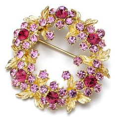 Pugster 22k Golden Rose Pink Swarovski Crystal Diamond Accent Leaf Wreath Flower Brooches & Pins Pugster. $20.19. One free elegant cushioned Gift box available with every order from Pugster.. Money-back Satisfaction Guarantee.. Occasion: casual wear,anniversary, bridal, cocktail party, wedding. Can be pinned on your gown or fastened in your hair with bobby pins.. Exquisitely detailed designer style with Swarovski cystal element.. Save 20% Off!