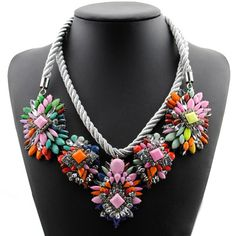 Hot Selling Fashion Mixed Style Chain Crystal Flower Bib Big Statement Necklace | eBay