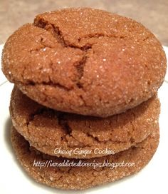 Addicted to Recipes: Chewy Ginger Cookies Cookie Brownie Bars, Cookie Desserts, Cookie Recipes, Dessert Recipes, Chewy Ginger Cookies, Great Recipes, Favorite Recipes, Roasted Chestnuts, Holiday Cakes
