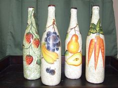 Image result for handpainted bowl with garlic motive #decoratedwinebottles