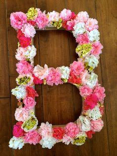 Monogram Paper Mâché Monogram Letter Sign with Handmade Tissue Paper Flowers [lovely for weddings, names, nurseries, or any celebration!]