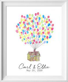 Disney Up Wedding Guestbook, Up house guest book, fingerprint tree, Pixar thumbprint guestbook Thumbprint Guest Books, Thumbprint Tree, Up Pixar, Disney Pixar, Trendy Wedding, Diy Wedding, Nautical Wedding, Wedding Ideas, Wedding Favors