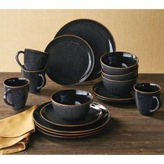 Better Homes & Gardens Burns Black Speckled Dinnerware Set, 16 Piece Better Homes and Gardens 16 pc Vase Deco, Wall Boxes, Dish Sets, Black Kitchens, Better Homes And Gardens, Diy Wood Projects, Plate Sets, Dinner Plates, Home And Garden